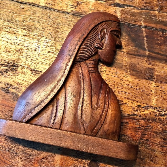 Wooden Female Carving 5.75 X 6